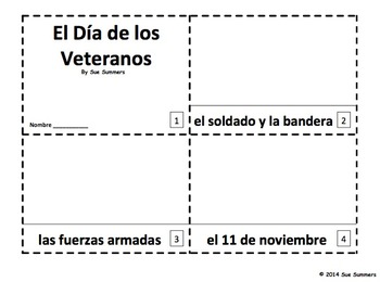 Spanish Veterans Day - 2 Emergent Reader Booklets