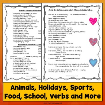 Spanish 1 Vocabulary Lists (34 Themes), Distance Learning
