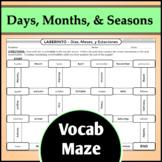 Spanish Vocab Maze Activity - Days, Months, and Seasons