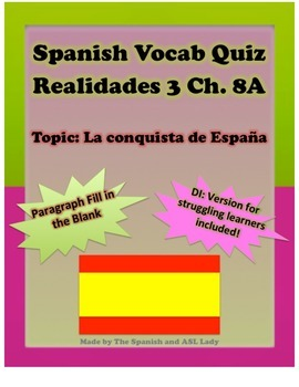 Spanish Vocab Quiz: Realidades 3 Chapter 8A