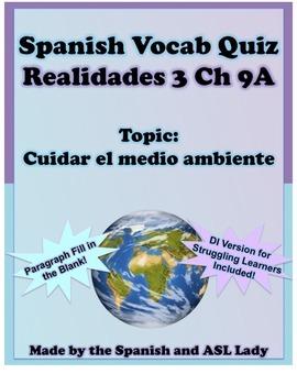 Spanish Vocab Quiz: Realidades 3 Chapter 9A