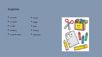 Spanish Vocab School Supplies Ppt
