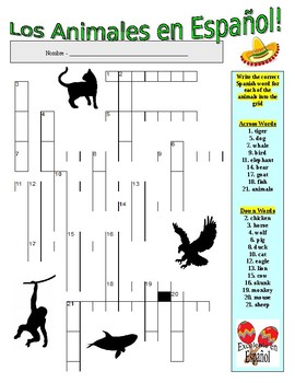 Spanish Vocabulary - ANIMALS (2 Puzzles)