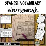 Spanish Vocabulary Activities, Homework Menu, and Practice