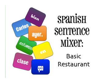 Spanish Vocabulary Activity Bundle:  Basic Restaurant