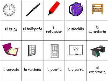 Spanish Classroom Objects Activity for Groups, Inventive Twist on Memory