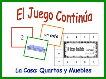 Spanish Rooms and Furniture (House) Activity for Groups, Twist on Memory