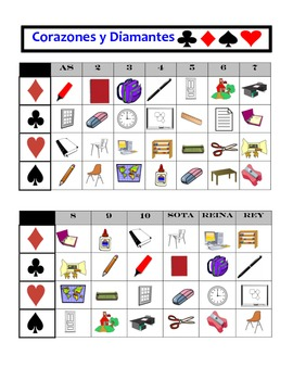 Spanish Classroom Objects Speaking Activity: Playing Cards, Groups