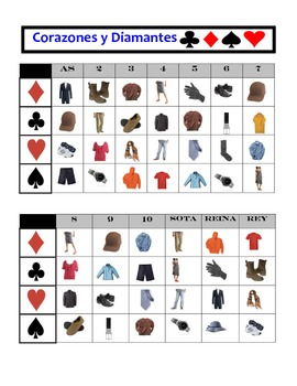 Spanish Clothing Speaking Activity: Playing Cards, Groups