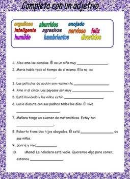 Spanish Vocabulary: Adjetivos.