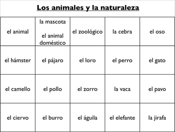 Spanish Vocabulary : Animals and Nature