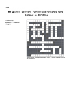Spanish Vocabulary - Bedroom - Furniture and Household Items Crossword Puzzle