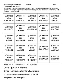 Spanish Vocabulary Speaking Bingo - modifiable and reproducible