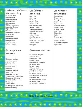 Spanish Vocabulary Bingo Cards (Animals, Weather, Town/City, Colors, Human Body)
