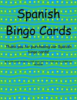 Spanish Vocabulary Bingo Cards (Animals, Weather, Town/City, Colors, Human Body)