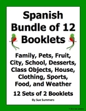Spanish Vocabulary Emergent Readers Bundle - 12 Booklets / Flashcard Sets