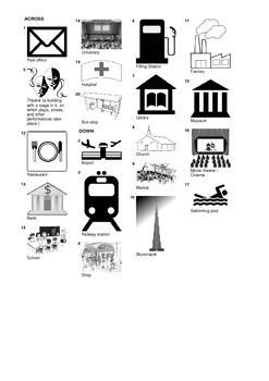 Spanish Vocabulary - Buildings Crossword Puzzle