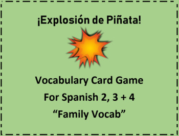 """Spanish Vocabulary Card Game """"Exploding Kittens"""" Classroom version """"Family"""""""