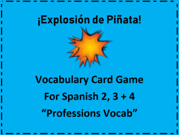 """Spanish Vocabulary Card Game """"Exploding Kittens"""" Classroom version """"Professions"""""""