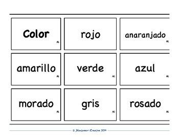 Spanish Vocabulary Card Set