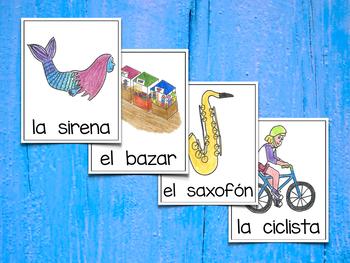 Spanish Vocabulary Cards - Banco de palabras (Consonantes que coinciden s-c-x-z)