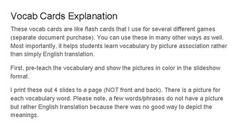 Spanish Vocabulary Cards Capitulo 6: for flashcard and game use