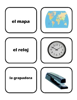 School Supplies/Los útiles escolares- Spanish Vocabulary Cards and Matching Game