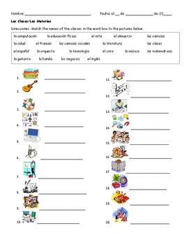 Spanish Vocabulary- Classes/Las Clases