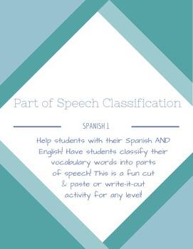 Spanish Vocabulary Classification: Parts of Speech