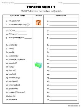 Spanish Vocabulary -¿Cómo eres tú? / Handout & PowerPoint