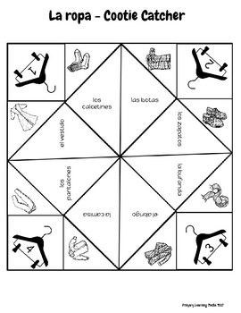 Spanish Vocabulary Cootie Catchers