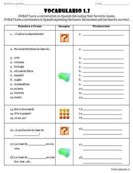 Spanish Vocabulary -¿Cuál es tu clase favorita? / Class & Time (Vocabulario 1.2)