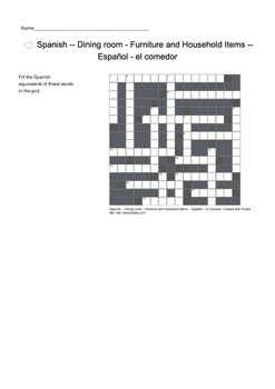 Spanish Vocabulary - Dining Room- Furniture and Household Items Crossword Puzzle