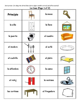 Spanish Vocabulary Dominoes