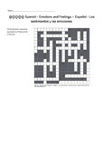 Spanish Vocabulary - Emotions and Feelings Crossword Puzzle