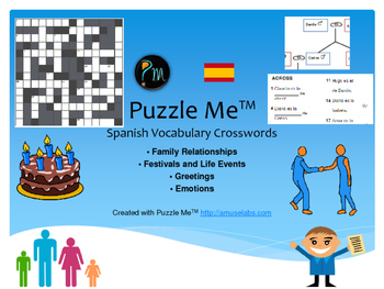Spanish Vocabulary - Family, Greetings, Emotions Crossword Puzzles