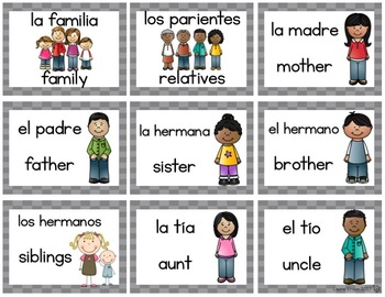 Spanish Vocabulary Family for Dual Language, ESOL, ELL