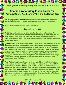 "Spanish Vocabulary Flash Cards (Complete Set) - 2.5"" by 3.3"" Medium"