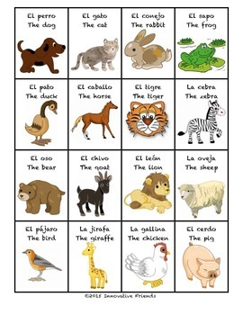 "Spanish Vocabulary Flash Cards (Animals) - 1.85"" by 2.5"" Small"