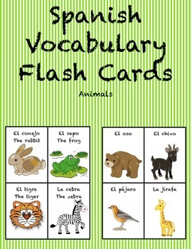 """Spanish Vocabulary Flash Cards (Animals) - 1.85"""" by 2.5"""" Small"""