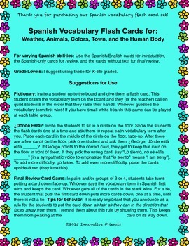 "Spanish Vocabulary Flash Cards (Complete Set) - 1.85"" by 2.5"" Small"