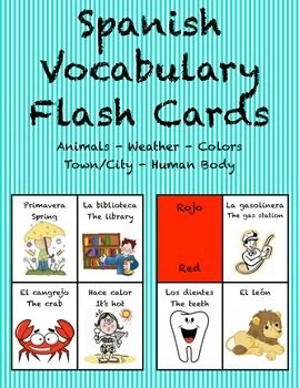 """Spanish Vocabulary Flash Cards (Complete Set) - 1.85"""" by 2"""