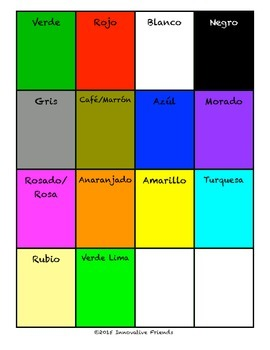 "Spanish Vocabulary Flash Cards (Colors) - 1.85"" by 2.5"" Small"