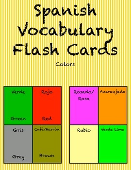 """Spanish Vocabulary Flash Cards (Colors) - 1.85"""" by 2.5"""" Small"""