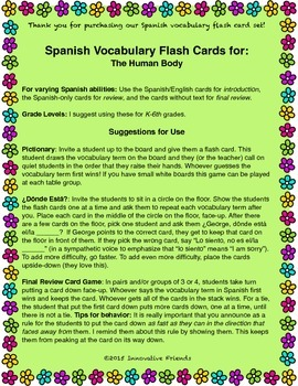 """Spanish Vocabulary Flash Cards (Human Body) - 1.85"""" by 2.5"""" Small"""