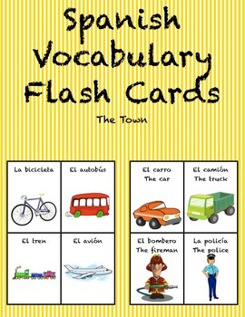 "Spanish Vocabulary Flash Cards (Town/City) - 1.85"" by 2.5"" Small"