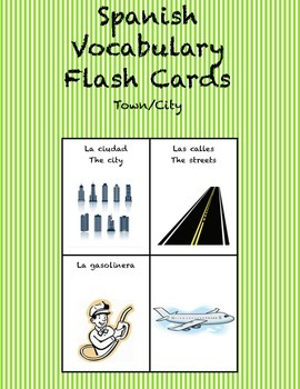 "Spanish Vocabulary Flash Cards (Town/City) - 2.5"" by 3.3"" Medium"