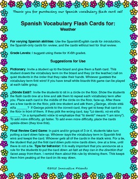 """Spanish Vocabulary Flash Cards (Weather) - 1.85"""" by 2.5"""" Small"""