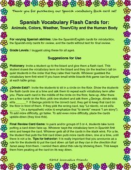 "Spanish Vocabulary Flash Cards (Weather) - 2.5"" by 3.3"" Medium"