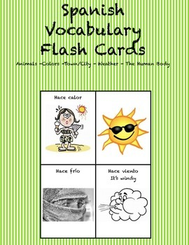 "Spanish Vocabulary Flash Cards (Weather) - 2.5"" by 3.3"" Medium"